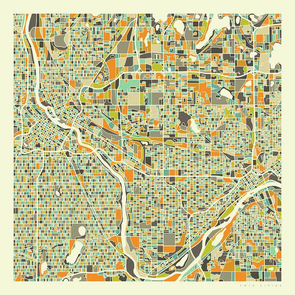 Twins Wall Art - Digital Art - Twin Cities Map 1 by Jazzberry Blue