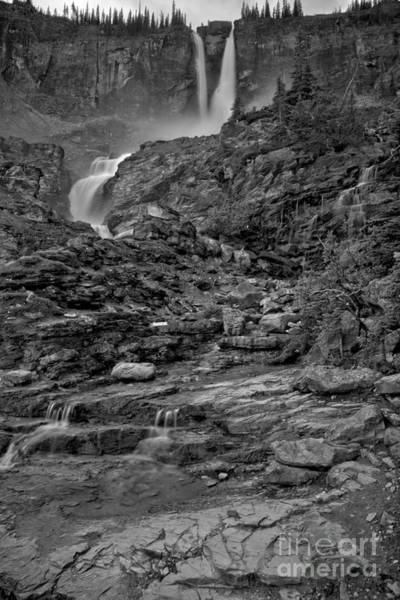 Photograph - Twin Falls Twisting Through The Canyon Black And White by Adam Jewell