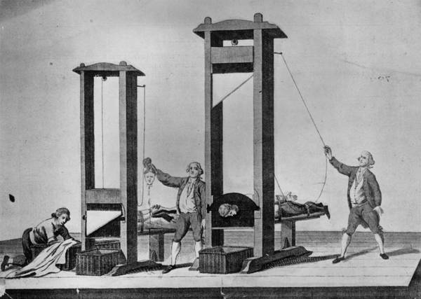 Government Digital Art - Twin Guillotines by Hulton Archive