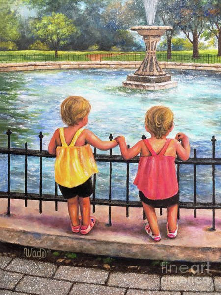Wall Art - Painting - Twin Little Girls At Fountain by Vickie Wade