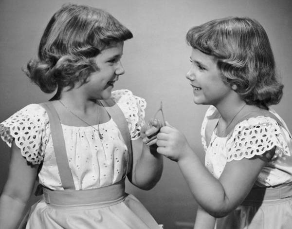 Luck Photograph - Twin Sisters Making A Wish by George Marks