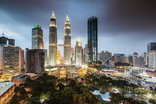 Wall Art - Photograph - Twin Towers And Skyline At Dusk, Klcc, Kuala Lumpur, Malaysia by Matteo Colombo