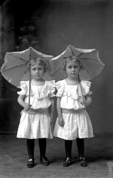 Painting - Twins, Ca. 1900  By Luther Hamilton by Luther Hamilton
