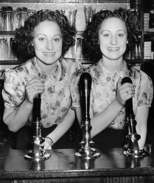 Toothy Smile Photograph - Twins Pull Pints by A R Tanner