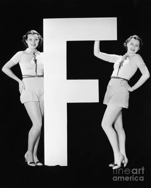 Wall Art - Photograph - Twins With Huge Letter F by Everett Collection