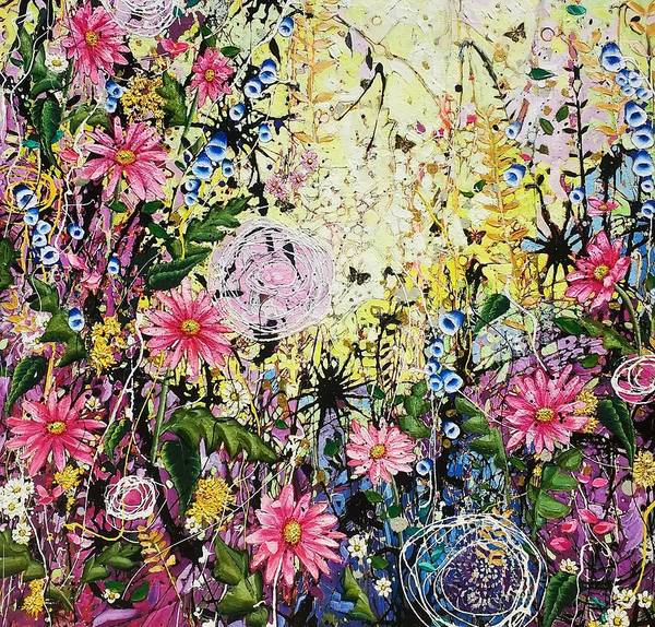 Wall Art - Painting - Twisted Daisies by Angie Wright