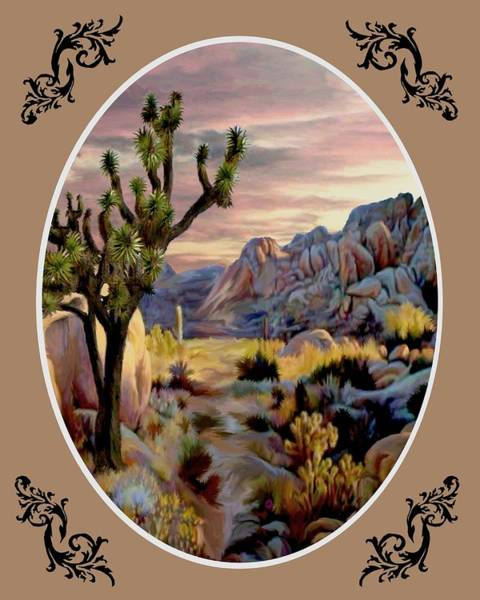 Wall Art - Painting - Twlight At Joshua - Oval by Ron Chambers