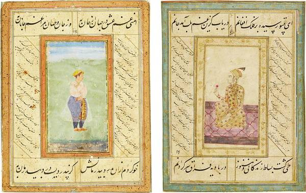 Wall Art - Painting - Two Album Pages With Portraits Of Noblemen, India, Deccan, 17th Century by Celestial Images