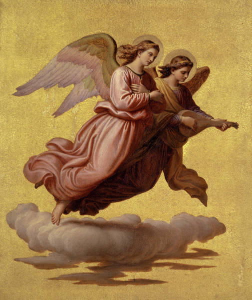 Wall Art - Painting - Two Angels Floating, 1865 by Johann von Schraudolph