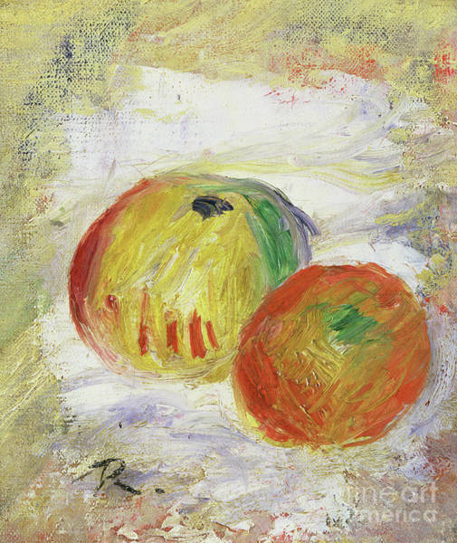Wall Art - Painting - Two Apples, 1875 by Pierre Auguste Renoir