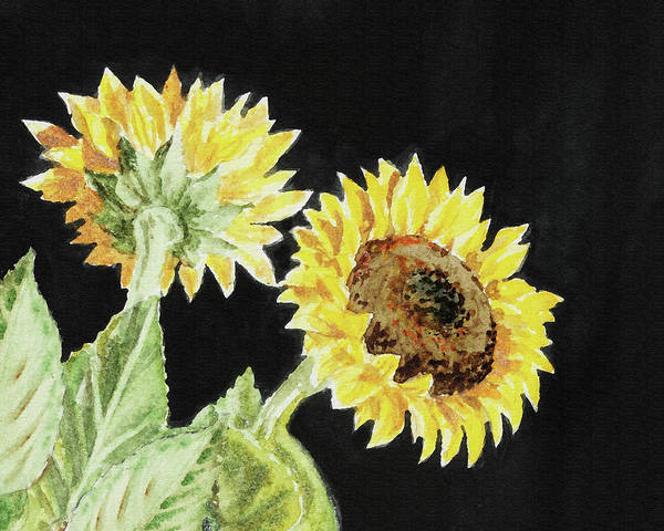 Wall Art - Painting - Two Autumn Sunflowers by Irina Sztukowski