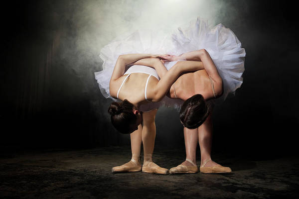 Coordination Wall Art - Photograph - Two Ballerinas Stretching On Stage by Nisian Hughes