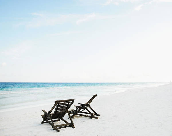 Quintana Roo Photograph - Two Beach Chairs In Sand On Empty by Thomas Barwick