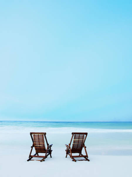 Copy Photograph - Two Beach Chairs On Tropical Beach At by Thomas Barwick