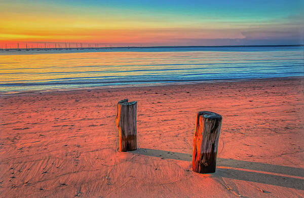 Photograph - Two Beach Pilings At Sunset by Gary Slawsky
