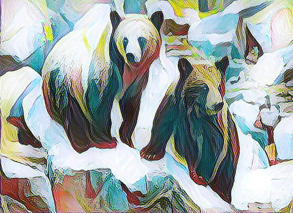 Digital Art - Two Bears In Winter by Shelli Fitzpatrick