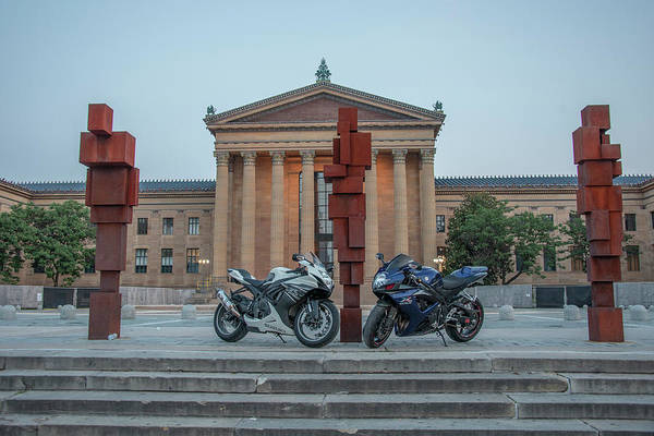 Wall Art - Photograph - Two Bikes On Top Of The Rocky Steps by Bill Cannon