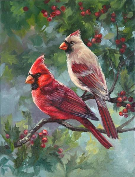 Wall Art - Painting - Two Birds by Laurie Snow Hein