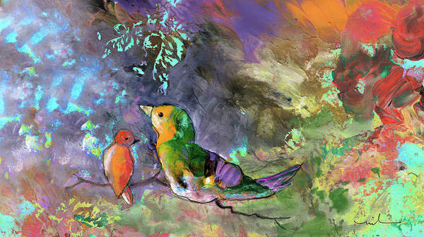 Painting - Two Birds On A Branch by Miki De Goodaboom