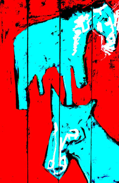 Digital Art - Two Blue Horses On Red by Artist Dot