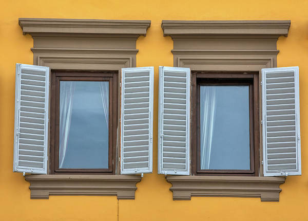 Photograph - Two Blue Window Shutters Of Florence by David Letts