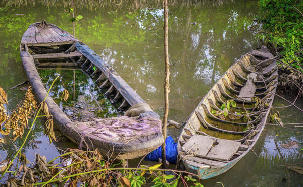 Photograph - Two Boats Vinh Long by Gary Gillette