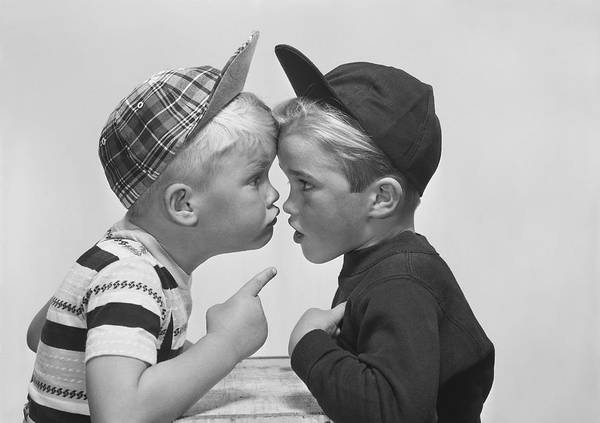 Confrontation Wall Art - Photograph - Two Boy Arguing, Close-up by Tom Kelley Archive