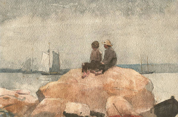 Wall Art - Photograph - Two Boys Watching Schooners by Winslow Homer