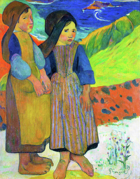 Wall Art - Painting - Two Breton Girls By The Sea - Digital Remastered Edition by Paul Gauguin