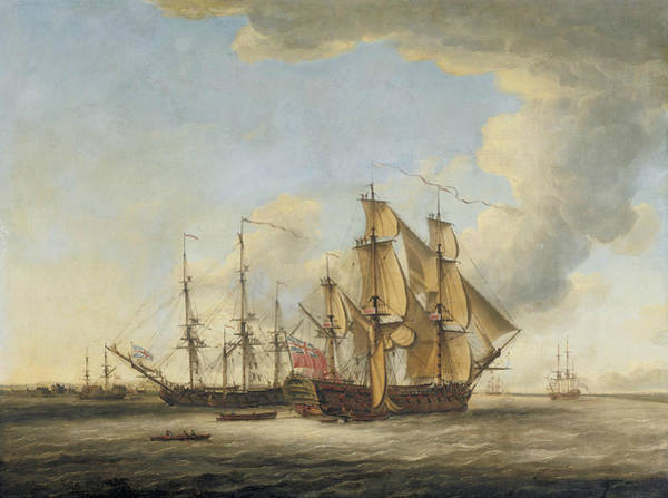Wall Art - Painting - Two British Men-o-war Among Other Ships In An Estuary by John Cleveley the Elder
