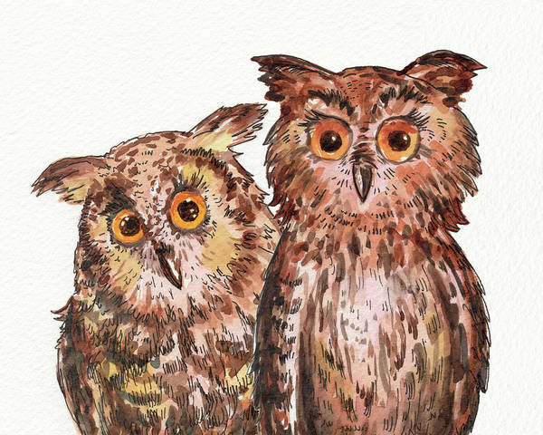 Wall Art - Painting - Two Brothers Baby Owls Watercolor by Irina Sztukowski