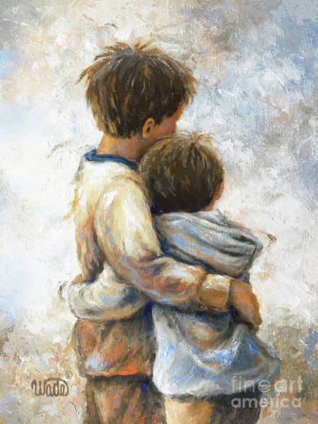 Wall Art - Painting - Two Brothers Hugging Brunettes by Vickie Wade
