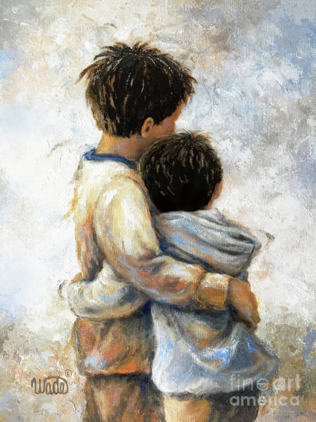 Wall Art - Painting - Two Brothers Hugging Dark Brunettes by Vickie Wade