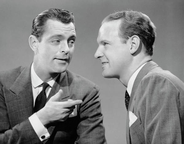 Gesturing Photograph - Two Businessmen In Meeting by George Marks