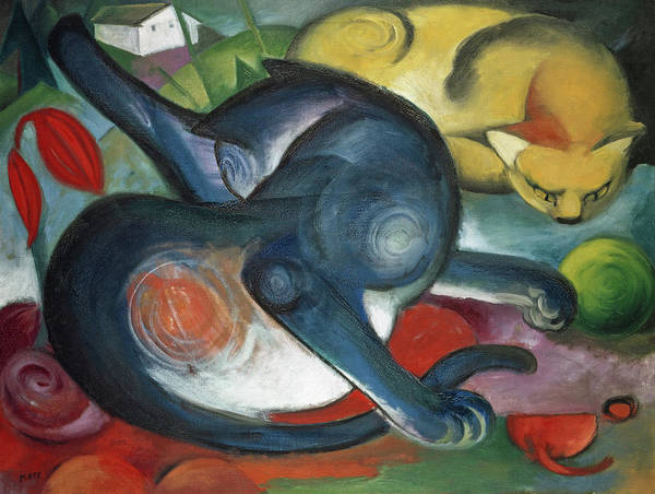 Wall Art - Painting - Two Cats, Blue And Yellow by Franz Marc