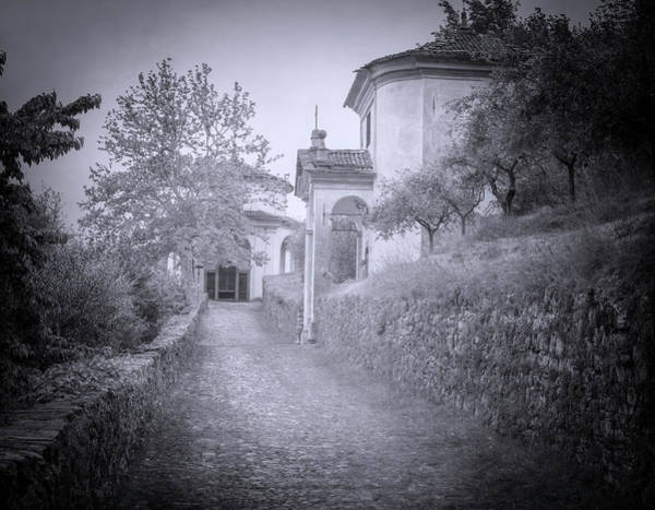 Wall Art - Photograph - Two Chapels On The Trail Lake Como Italy Bw by Joan Carroll