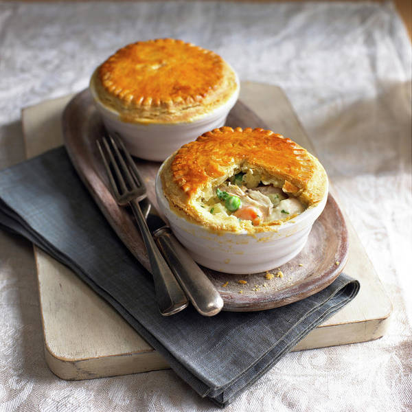 Tray Photograph - Two Chicken Pot Pies On Serving Tray by William Reavell