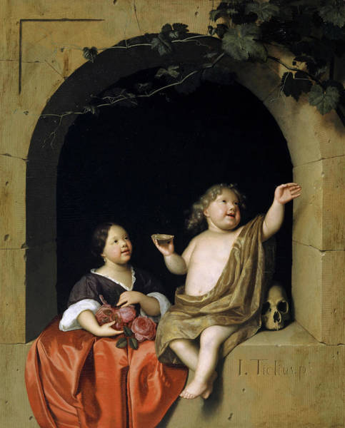 Wall Art - Painting - Two Children At A Window, Looking At A Soap Bubble by Jan Tilius