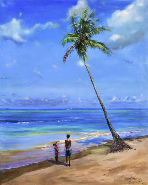Saint Lucia Painting - Two Children By Coconut Tree by Jonathan Guy-Gladding JAG
