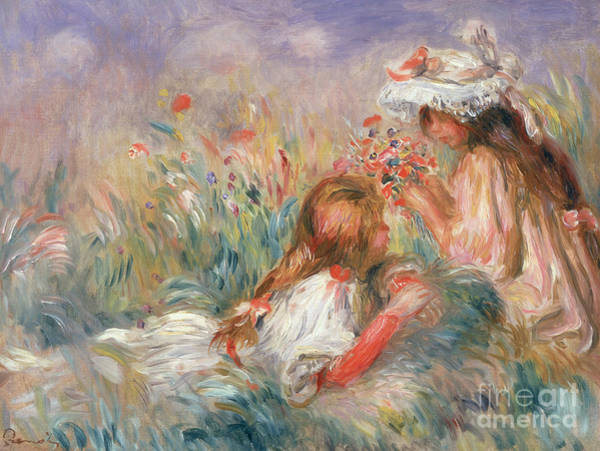 Wall Art - Painting - Two Children Seated Among Flowers, 1900 by Pierre Auguste Renoir
