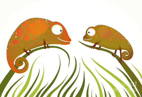 Wall Art - Digital Art - Two Colorful Lizards Sitting On Grass by Popmarleo