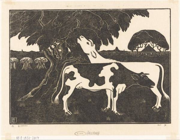 Panda Drawing Painting - Two Cows In A Tree Bernard Essers, C. 1925 by Celestial Images