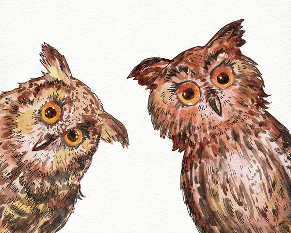 Wall Art - Painting - Two Curious Baby Owls Watercolor by Irina Sztukowski