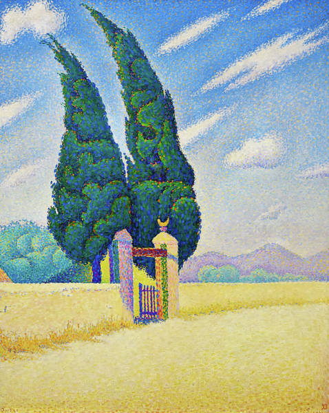 Wall Art - Painting - Two Cypresses - Digital Remastered Edition by Paul Signac