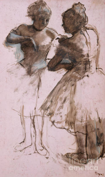 Wall Art - Drawing - Two Dancers, 1873 by Edgar Degas