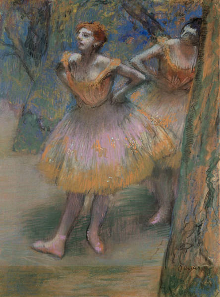 Pastel - Two Dancers, Circa 1893-1898 by Edgar Degas