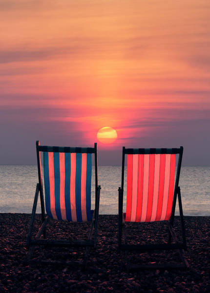 Photograph - Two Deckchairs At Sunset, Beer Beach by Maggie McCall