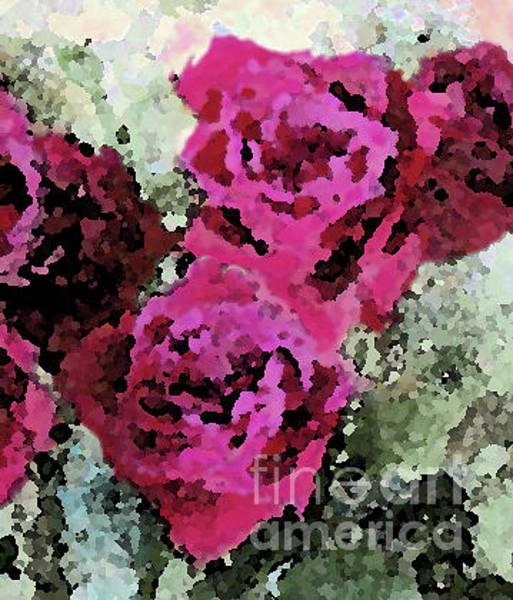 Painting - Two Deep Pink Roses Together by Corinne Carroll