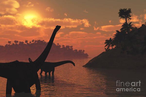 Wall Art - Digital Art - Two Diplodocus Dinosaurs Roaming In The by Linda Bucklin