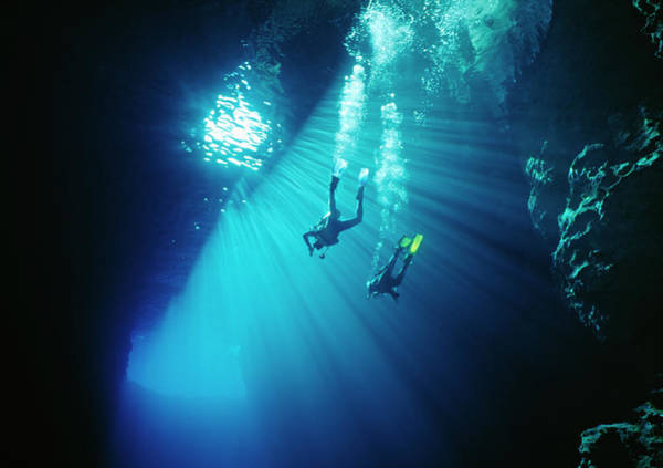 Underwater Diving Photograph - Two Divers Swim Thru Sunbeams In Sea by Kim Westerskov